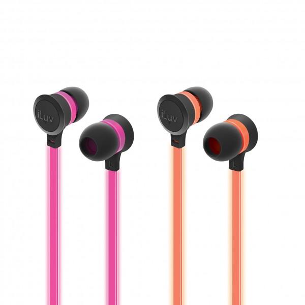 2 Stück iLuv Neon Glow leuchtende In Ear Kopfhörer Mikro in orange und pink