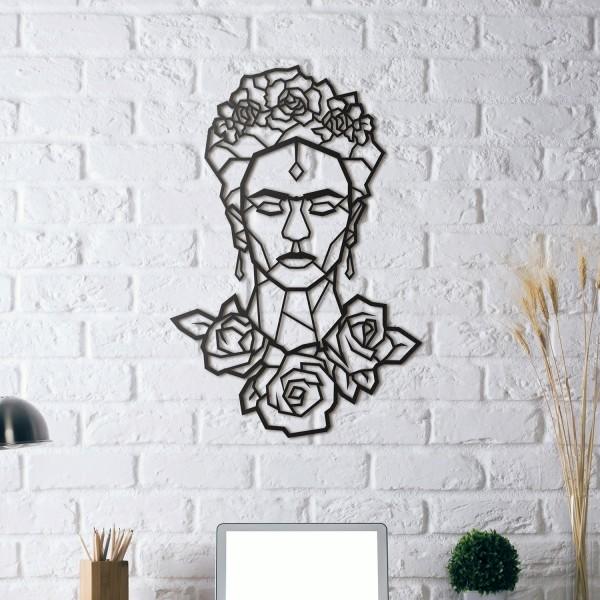 HOAGARD Wandbild aus schwarzem Metall - Frauenkopf Frieda Kahlo