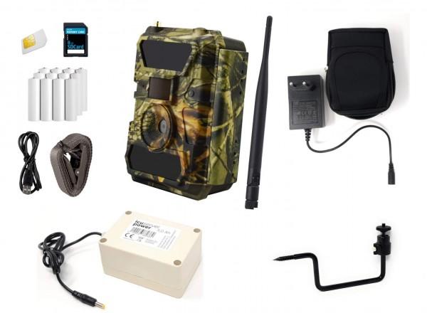 ICUserver Wildkamera 50° Bundle mit externem Akku und Baumschraube
