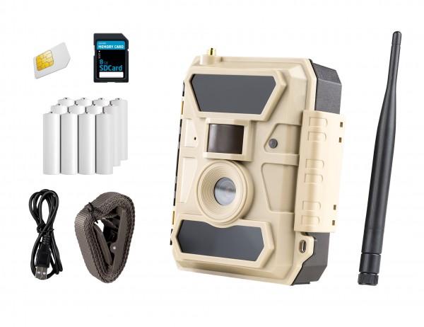 ICUserver Überwachungskamera 100° Bundle mit externem Akku und Wandhalterung